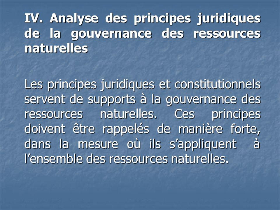 IV. Analyse des principes juridiques de la gouvernance des ressources naturelles Les principes juridiques et constitutionnels servent de supports à la