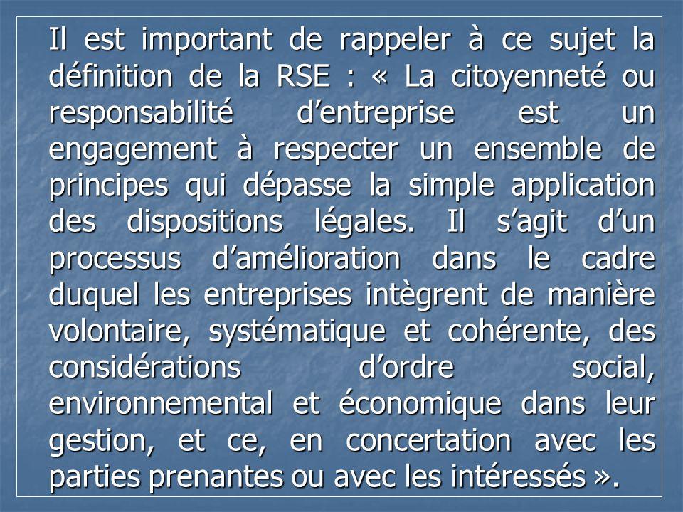 Il est important de rappeler à ce sujet la définition de la RSE : « La citoyenneté ou responsabilité dentreprise est un engagement à respecter un ense