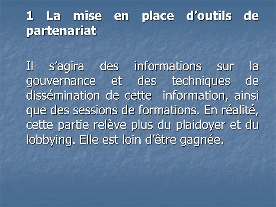 1 La mise en place doutils de partenariat Il sagira des informations sur la gouvernance et des techniques de dissémination de cette information, ainsi