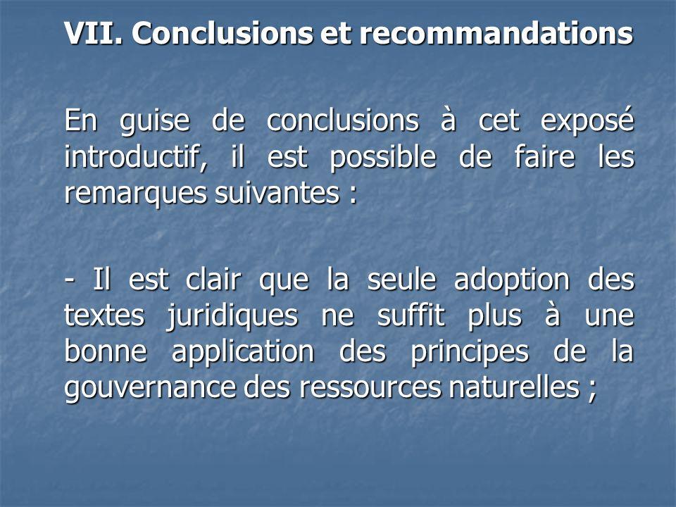 VII. Conclusions et recommandations En guise de conclusions à cet exposé introductif, il est possible de faire les remarques suivantes : - Il est clai