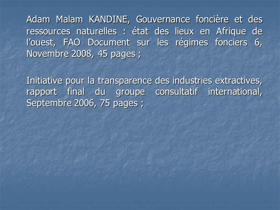 Adam Malam KANDINE, Gouvernance foncière et des ressources naturelles : état des lieux en Afrique de louest, FAO Document sur les régimes fonciers 6,