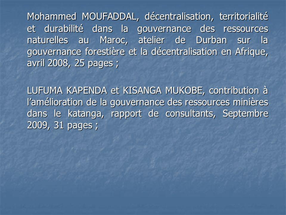 Mohammed MOUFADDAL, décentralisation, territorialité et durabilité dans la gouvernance des ressources naturelles au Maroc, atelier de Durban sur la go