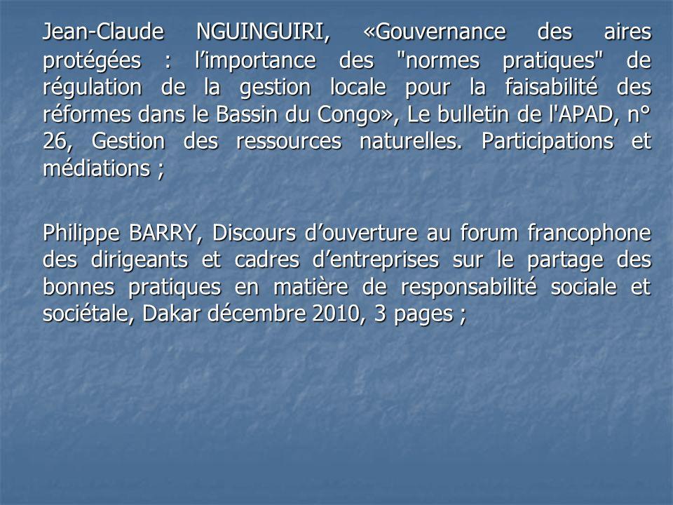 Jean-Claude NGUINGUIRI, «Gouvernance des aires protégées : limportance des