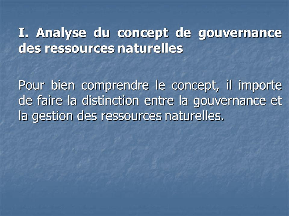 I. Analyse du concept de gouvernance des ressources naturelles Pour bien comprendre le concept, il importe de faire la distinction entre la gouvernanc