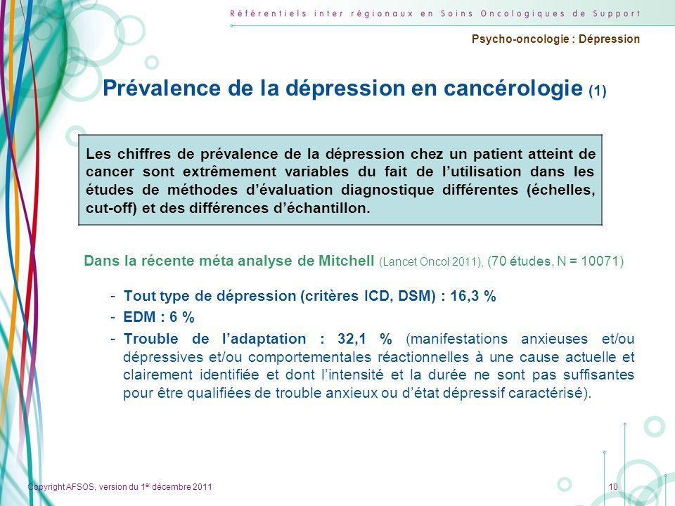 Copyright AFSOS, version du 1 er décembre 2011 Psycho-oncologie : Dépression Prévalence de la dépression en cancérologie (1) Dans la récente méta anal