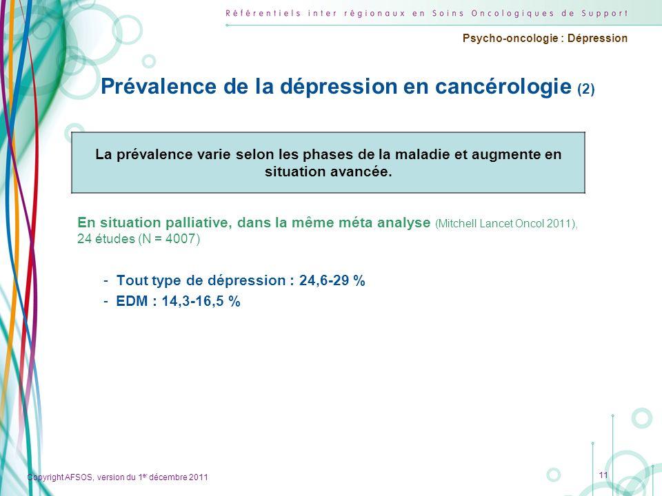 Copyright AFSOS, version du 1 er décembre 2011 Psycho-oncologie : Dépression Prévalence de la dépression en cancérologie (2) En situation palliative,