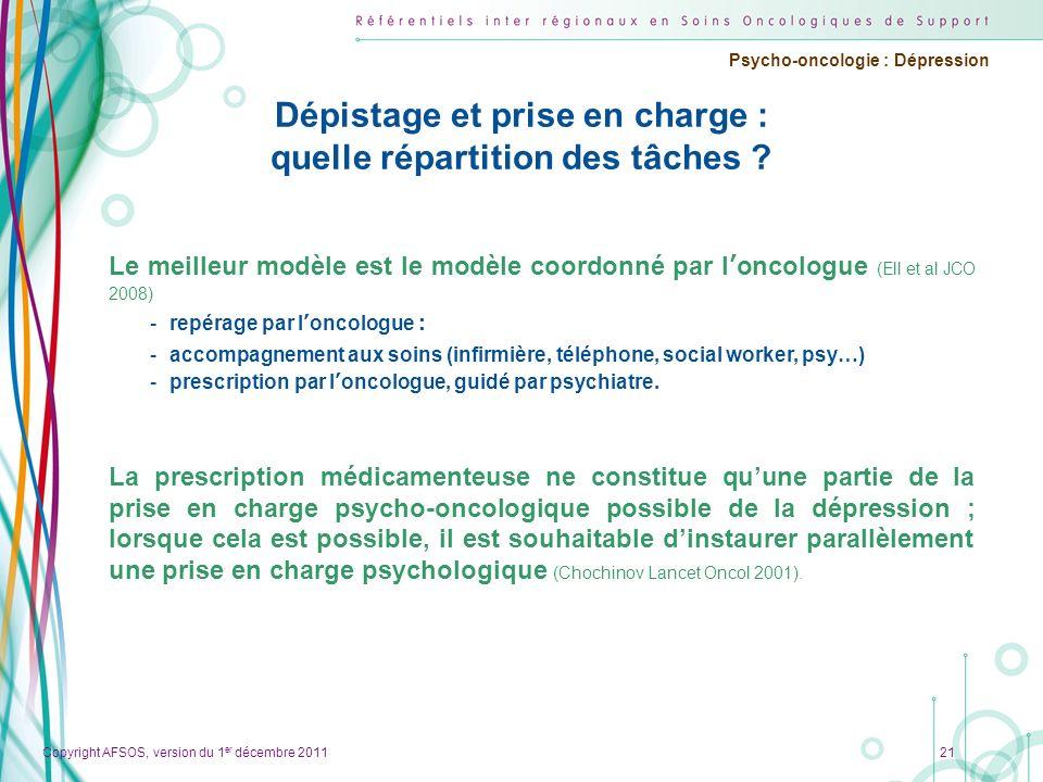 Copyright AFSOS, version du 1 er décembre 2011 Psycho-oncologie : Dépression Dépistage et prise en charge : quelle répartition des tâches ? 21 Le meil
