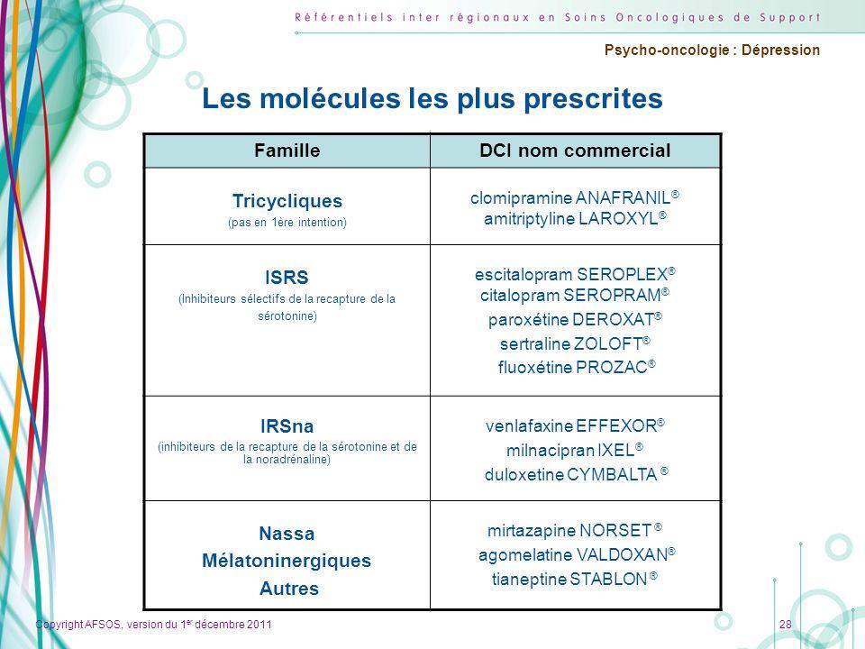 Copyright AFSOS, version du 1 er décembre 2011 Psycho-oncologie : Dépression Les molécules les plus prescrites 28 FamilleDCI nom commercial Tricycliqu