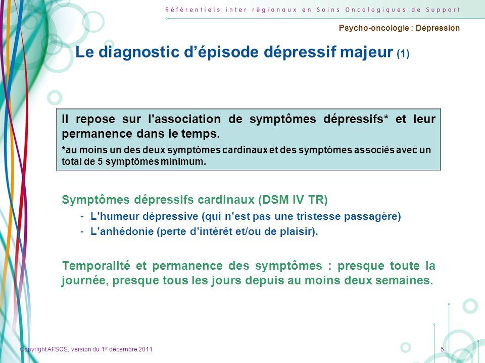 Copyright AFSOS, version du 1 er décembre 2011 Psycho-oncologie : Dépression Le diagnostic dépisode dépressif majeur (1) Symptômes dépressifs cardinau