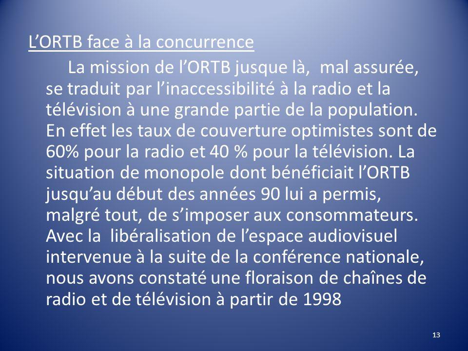 LORTB face à la concurrence La mission de lORTB jusque là, mal assurée, se traduit par linaccessibilité à la radio et la télévision à une grande parti