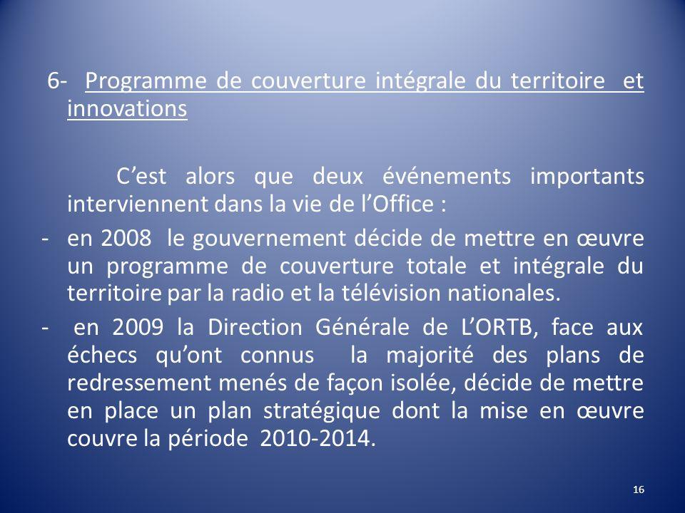 6- Programme de couverture intégrale du territoire et innovations Cest alors que deux événements importants interviennent dans la vie de lOffice : -en