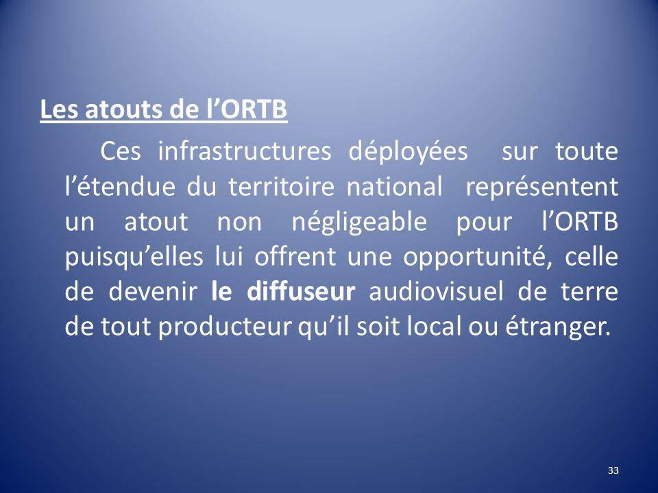 Les atouts de lORTB Ces infrastructures déployées sur toute létendue du territoire national représentent un atout non négligeable pour lORTB puisquell