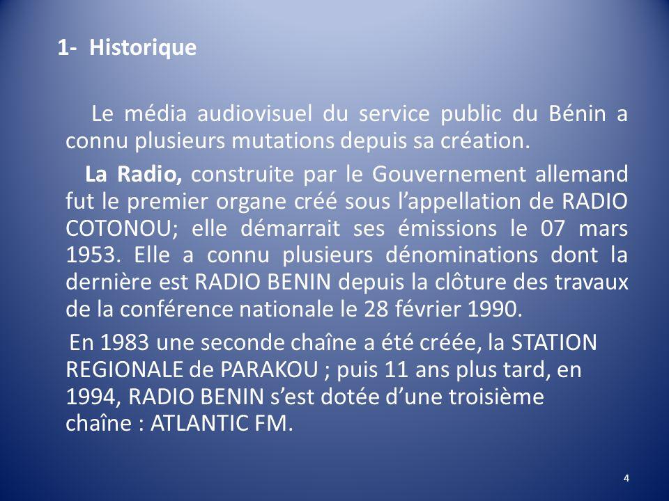 1- Historique Le média audiovisuel du service public du Bénin a connu plusieurs mutations depuis sa création. La Radio, construite par le Gouvernement