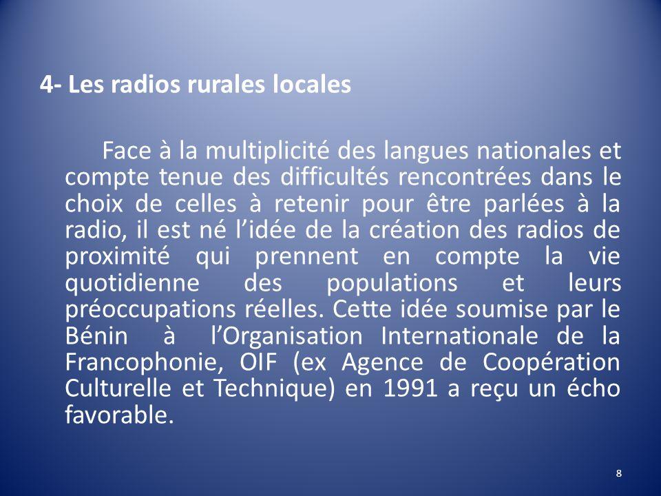4- Les radios rurales locales Face à la multiplicité des langues nationales et compte tenue des difficultés rencontrées dans le choix de celles à rete