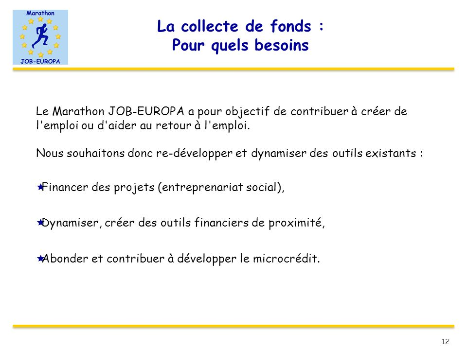 La collecte de fonds : Pour quels besoins Le Marathon JOB-EUROPA a pour objectif de contribuer à créer de l'emploi ou d'aider au retour à l'emploi. No