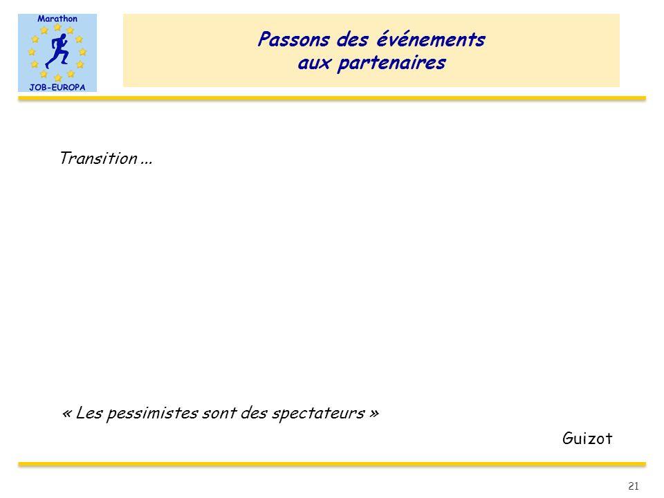 Passons des événements aux partenaires Transition... « Les pessimistes sont des spectateurs » Guizot 21