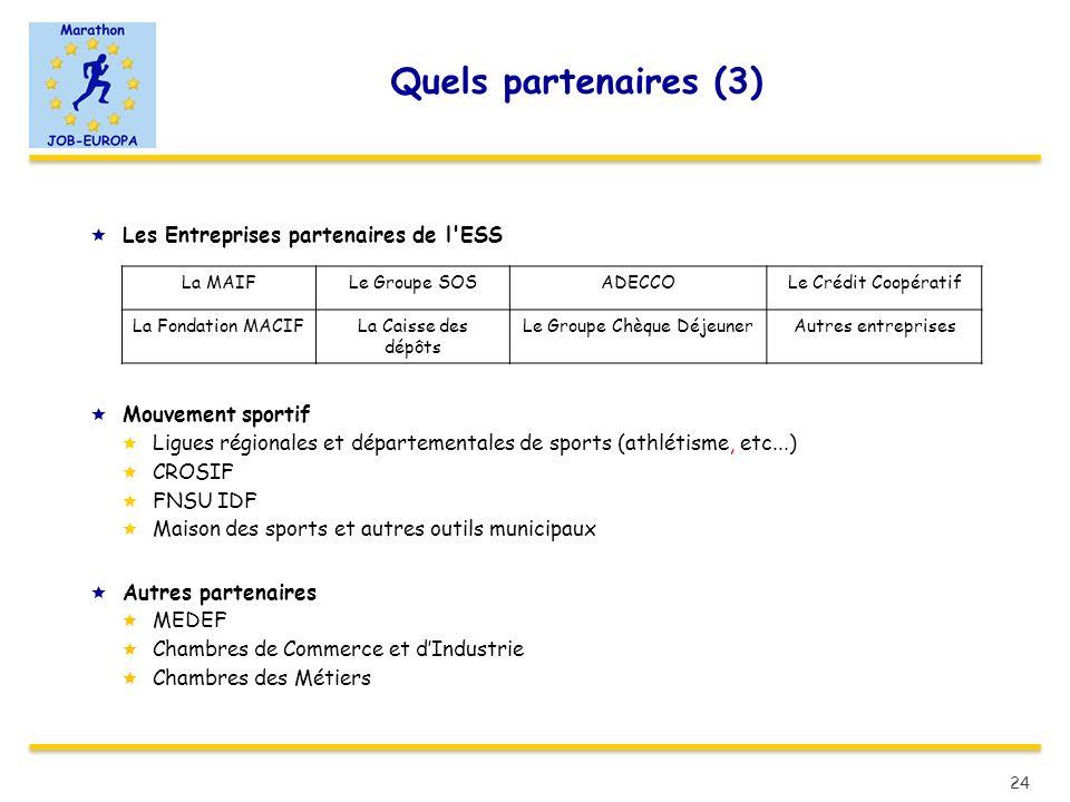 Quels partenaires (3) Les Entreprises partenaires de l'ESS Mouvement sportif Ligues régionales et départementales de sports (athlétisme, etc...) CROSI