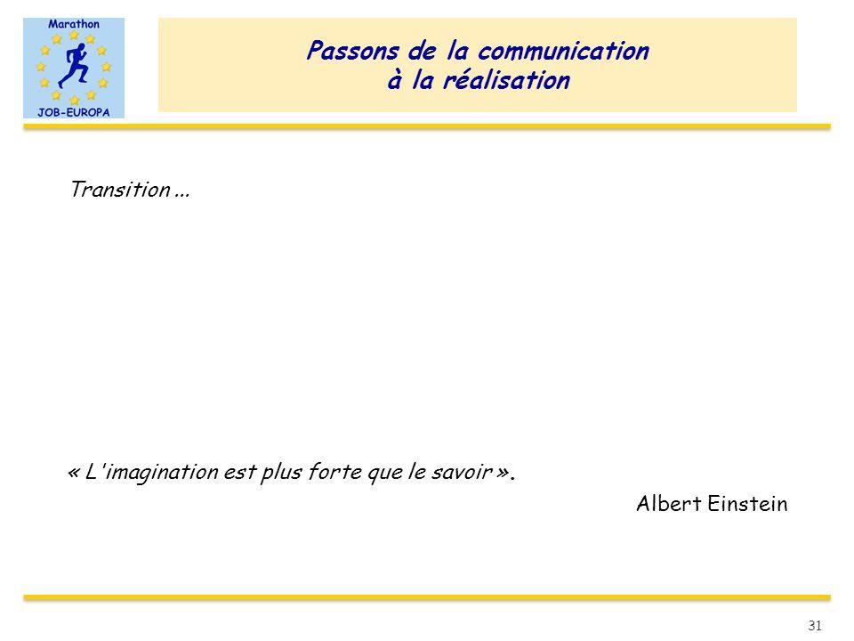 Passons de la communication à la réalisation Transition... « L'imagination est plus forte que le savoir ». Albert Einstein 31