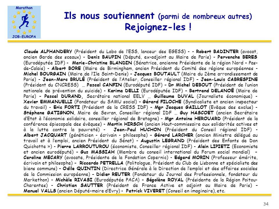 Ils nous soutiennent (parmi de nombreux autres) Rejoignez-les ! Claude ALPHANDERY (Président du Labo de lESS, lanceur des EGESS) - - Robert BADINTER (