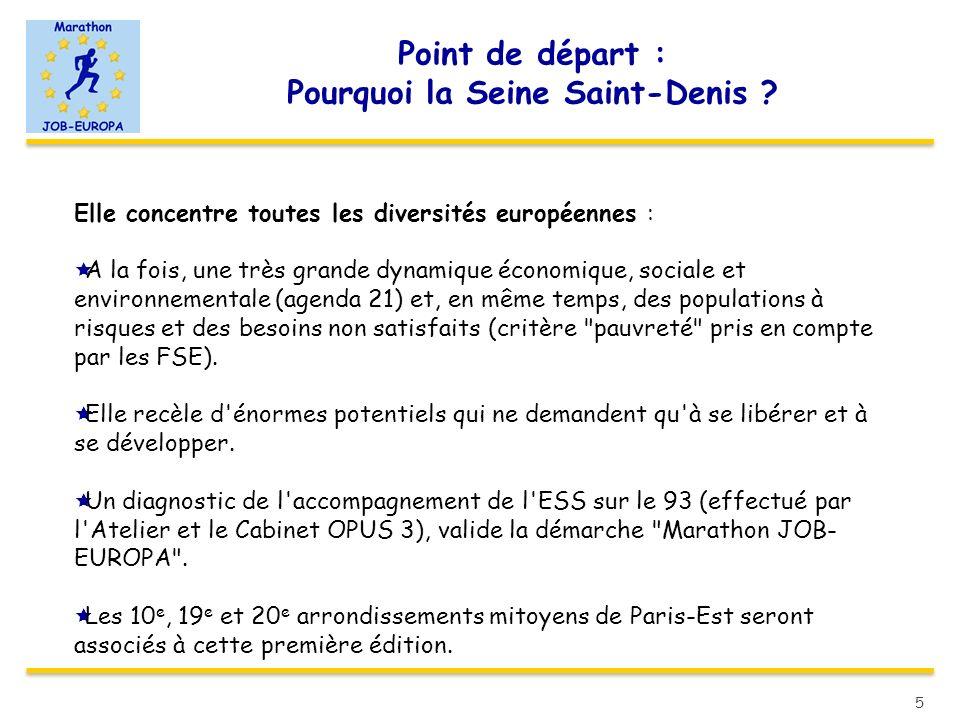 Point de départ : Pourquoi la Seine Saint-Denis ? Elle concentre toutes les diversités européennes : A la fois, une très grande dynamique économique,