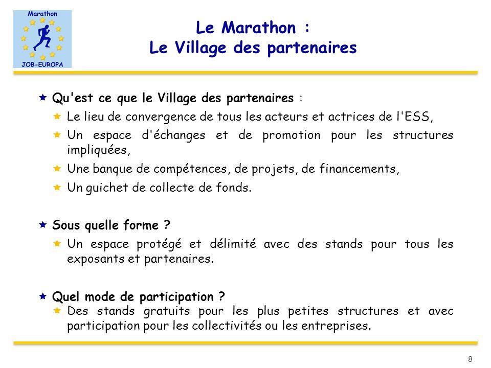 Le Marathon : Le Village des partenaires Qu'est ce que le Village des partenaires : Le lieu de convergence de tous les acteurs et actrices de l'ESS, U