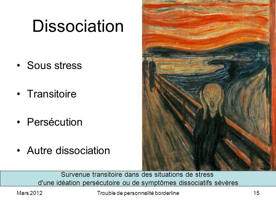 Mars 2012Trouble de personnalité borderline15 Dissociation Sous stress Transitoire Persécution Autre dissociation Survenue transitoire dans des situat