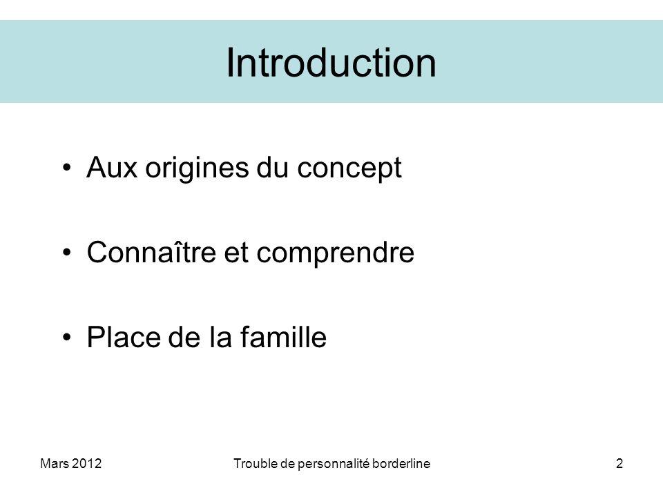 Mars 2012Trouble de personnalité borderline2 Introduction Aux origines du concept Connaître et comprendre Place de la famille