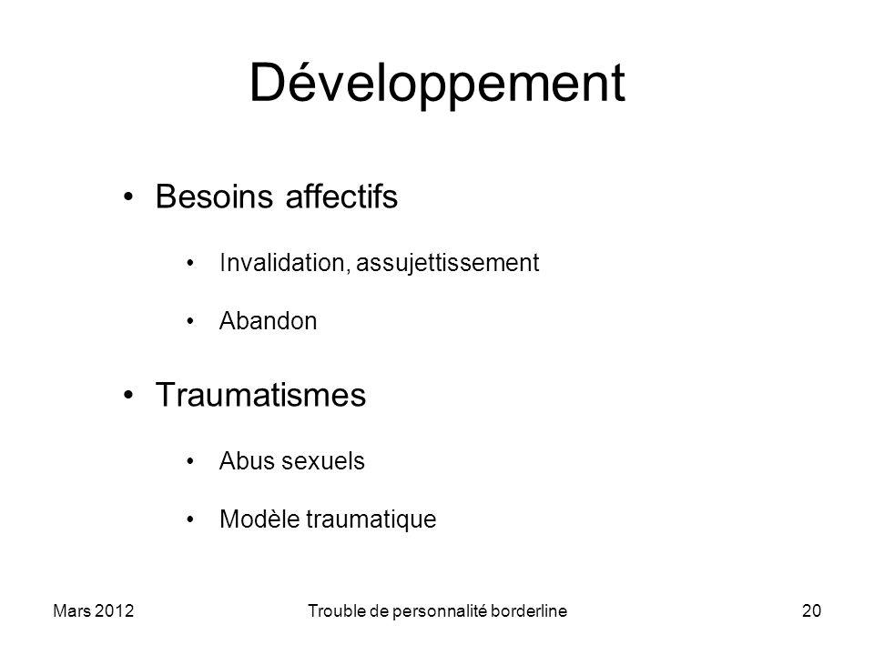 Mars 2012Trouble de personnalité borderline20 Développement Besoins affectifs Invalidation, assujettissement Abandon Traumatismes Abus sexuels Modèle