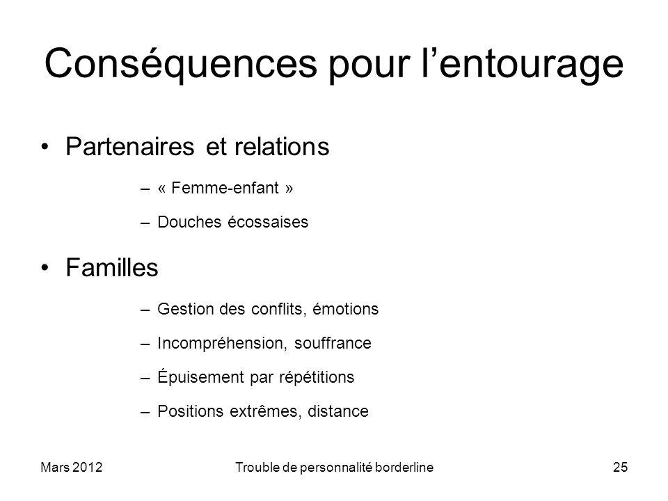 Mars 2012Trouble de personnalité borderline25 Conséquences pour lentourage Partenaires et relations –« Femme-enfant » –Douches écossaises Familles –Ge