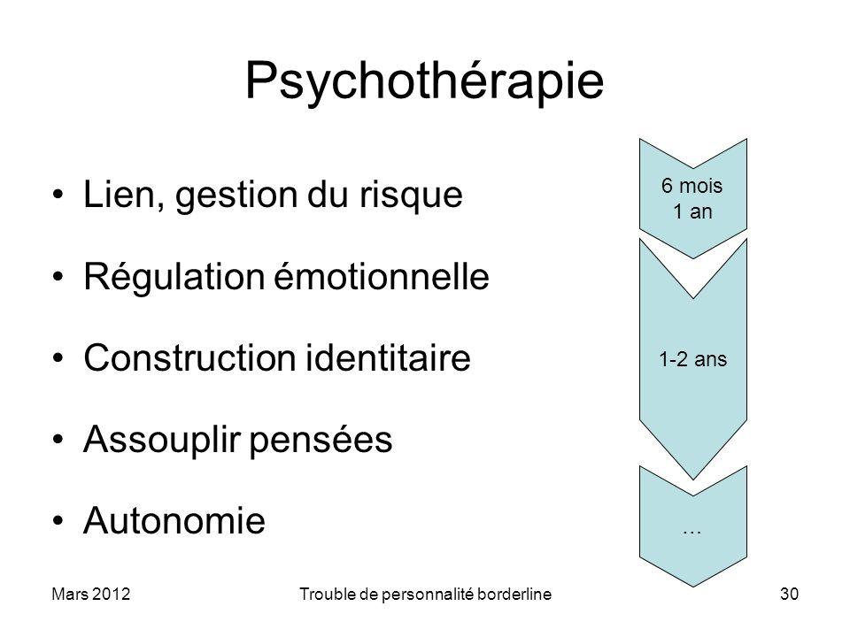 Mars 2012Trouble de personnalité borderline30 Psychothérapie Lien, gestion du risque Régulation émotionnelle Construction identitaire Assouplir pensée