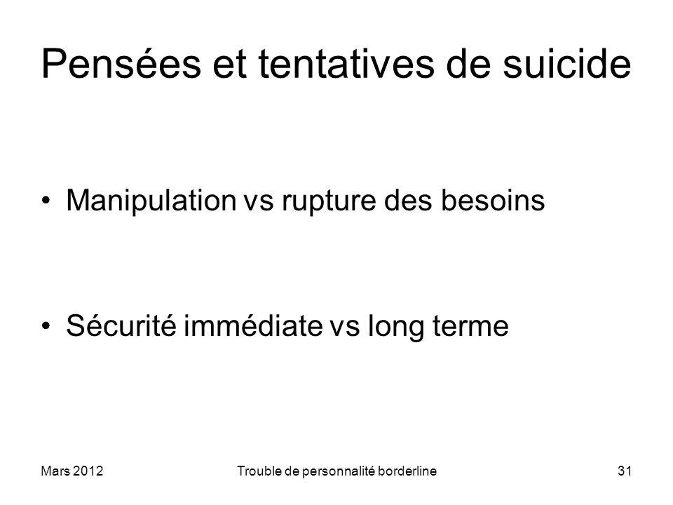 Mars 2012Trouble de personnalité borderline31 Pensées et tentatives de suicide Manipulation vs rupture des besoins Sécurité immédiate vs long terme