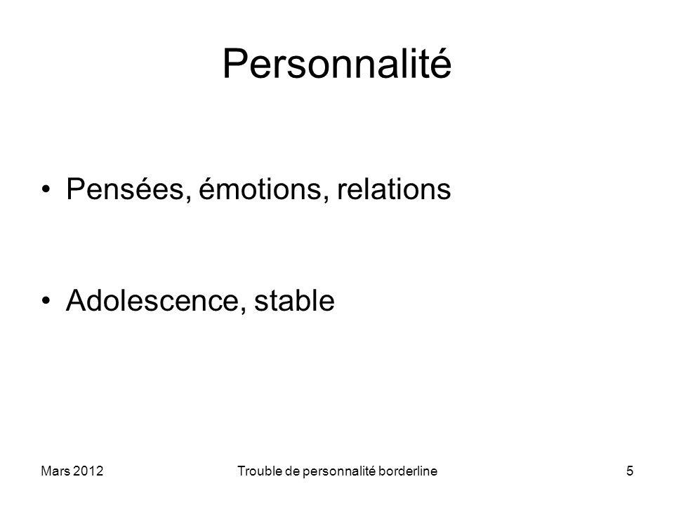 Mars 2012Trouble de personnalité borderline5 Personnalité Pensées, émotions, relations Adolescence, stable