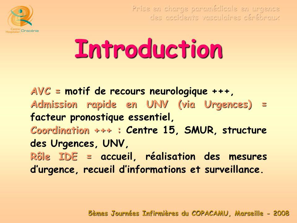 5èmes Journées Infirmières du COPACAMU, Marseille - 2008 Définitions Synonymes = Synonymes = attaque ou congestion cérébrale , AVC = AVC = toute anomalie clinique secondaire à une lésion anatomique dun ou de plusieurs vaisseaux cérébraux.