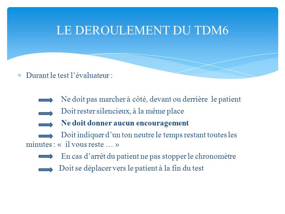 Durant le test lévaluateur : Ne doit pas marcher à côté, devant ou derrière le patient Doit rester silencieux, à la même place Ne doit donner aucun en