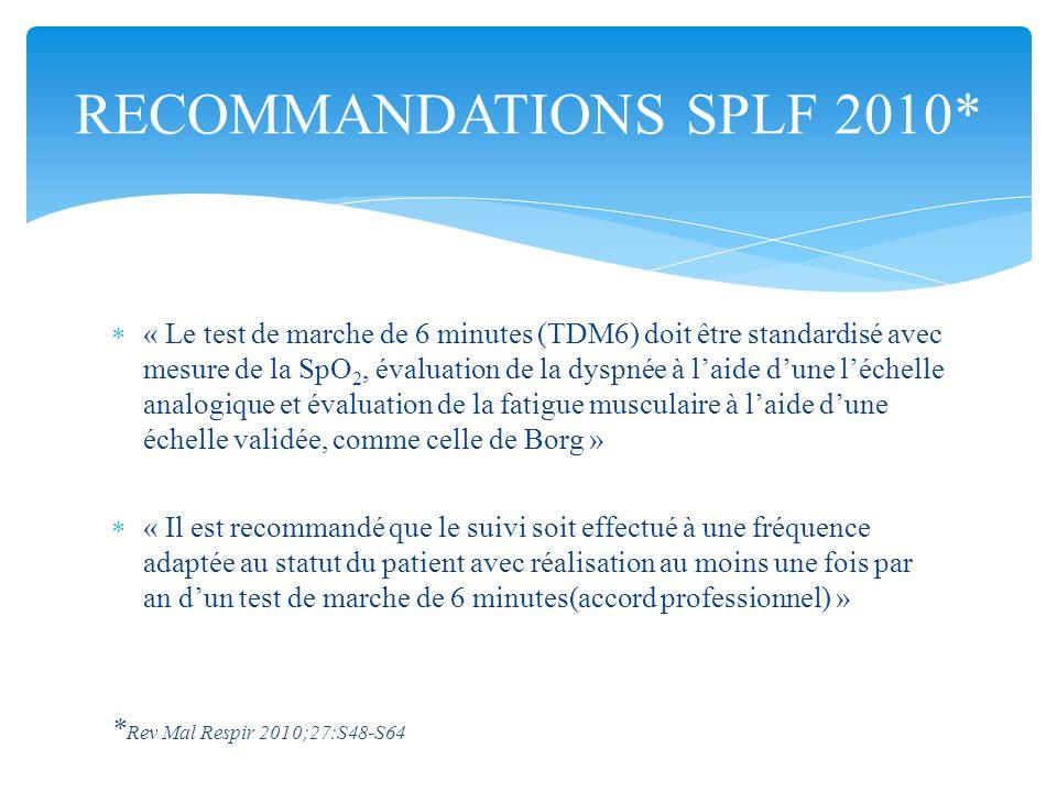 « Le test de marche de 6 minutes (TDM6) doit être standardisé avec mesure de la SpO 2, évaluation de la dyspnée à laide dune léchelle analogique et év