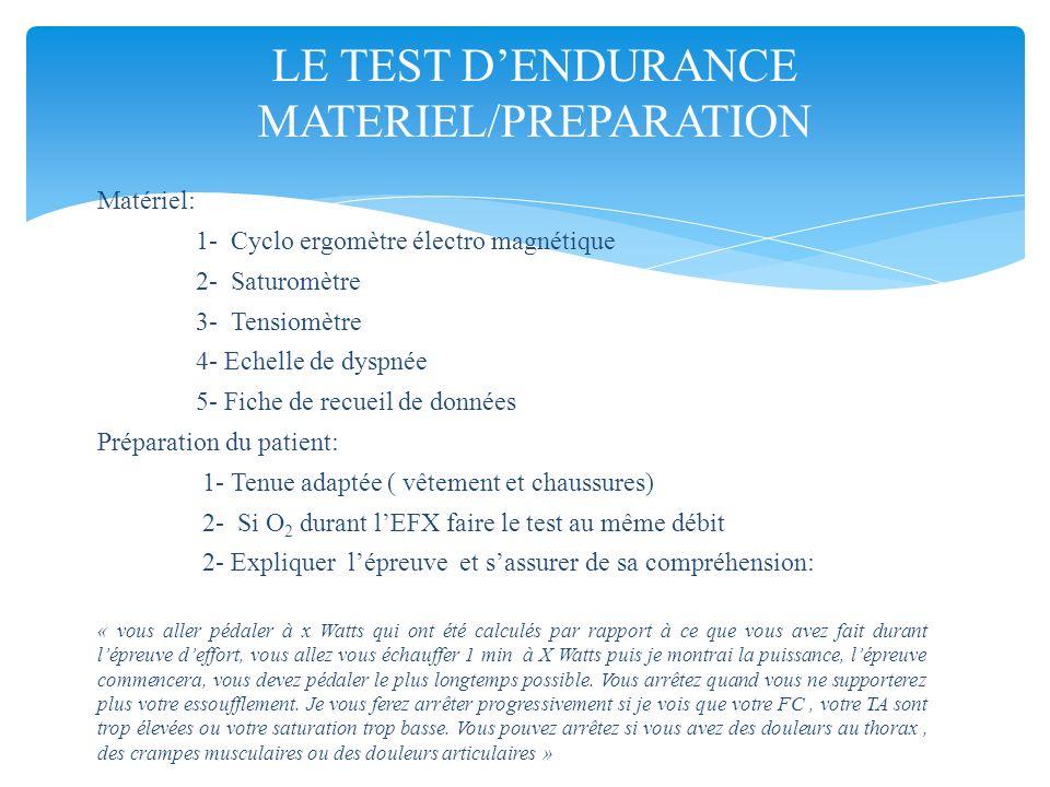Matériel: 1- Cyclo ergomètre électro magnétique 2- Saturomètre 3- Tensiomètre 4- Echelle de dyspnée 5- Fiche de recueil de données Préparation du pati