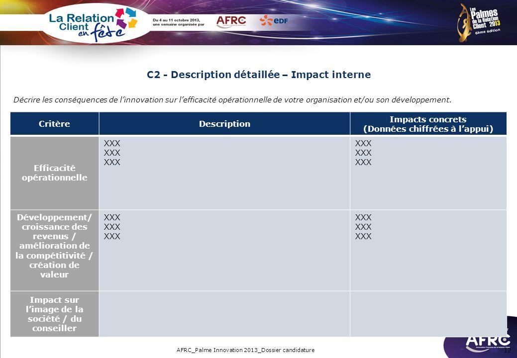 C2 - Description détaillée – Impact interne CritèreDescription Impacts concrets (Données chiffrées à lappui) Efficacité opérationnelle XXX Développeme