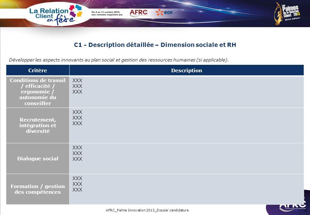 C1 - Description détaillée – Dimension sociale et RH 9 Développer les aspects innovants au plan social et gestion des ressources humaines (si applicab