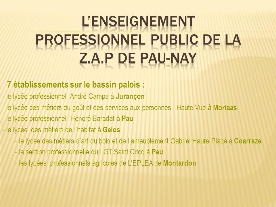7 établissements sur le bassin palois : - le lycée professionnel André Campa à Jurançon - le lycée des métiers du goût et des services aux personnes,