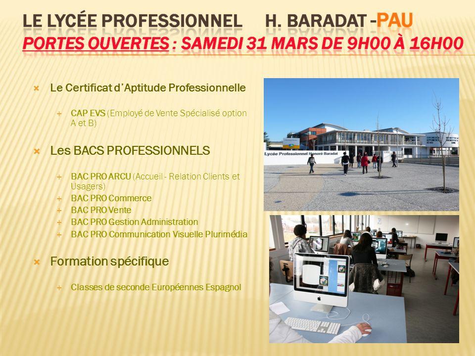 Le Certificat dAptitude Professionnelle CAP EVS (Employé de Vente Spécialisé option A et B) Les BACS PROFESSIONNELS BAC PRO ARCU (Accueil - Relation C