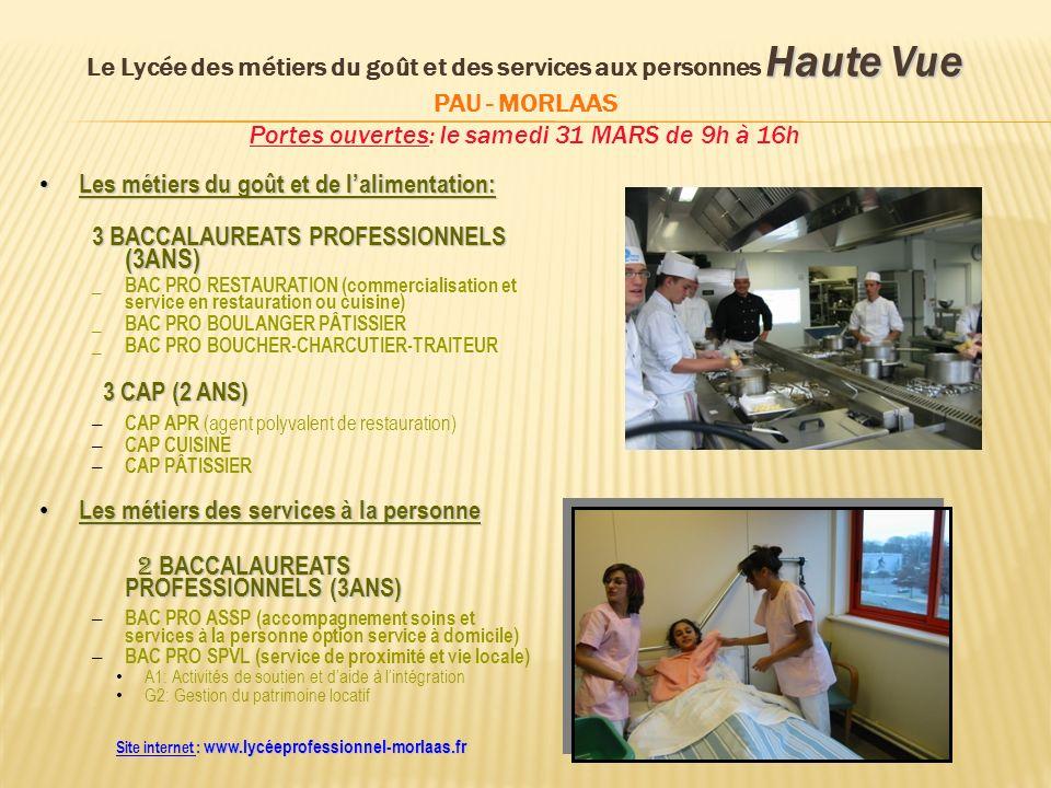 Haute Vue Le Lycée des métiers du goût et des services aux personnes Haute Vue PAU - MORLAAS Portes ouvertes: le samedi 31 MARS de 9h à 16h Les métier