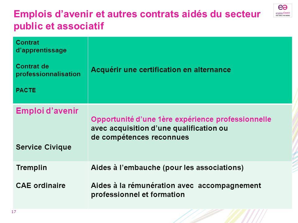Emplois davenir et autres contrats aidés du secteur public et associatif Contrat dapprentissage Contrat de professionnalisation PACTE Acquérir une cer