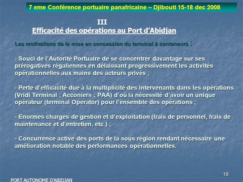 10 7 eme Conférence portuaire panafricaine – Djibouti 15-18 dec 2008 PORT AUTONOME DABIDJAN Les motivations de la mise en concession du terminal à con