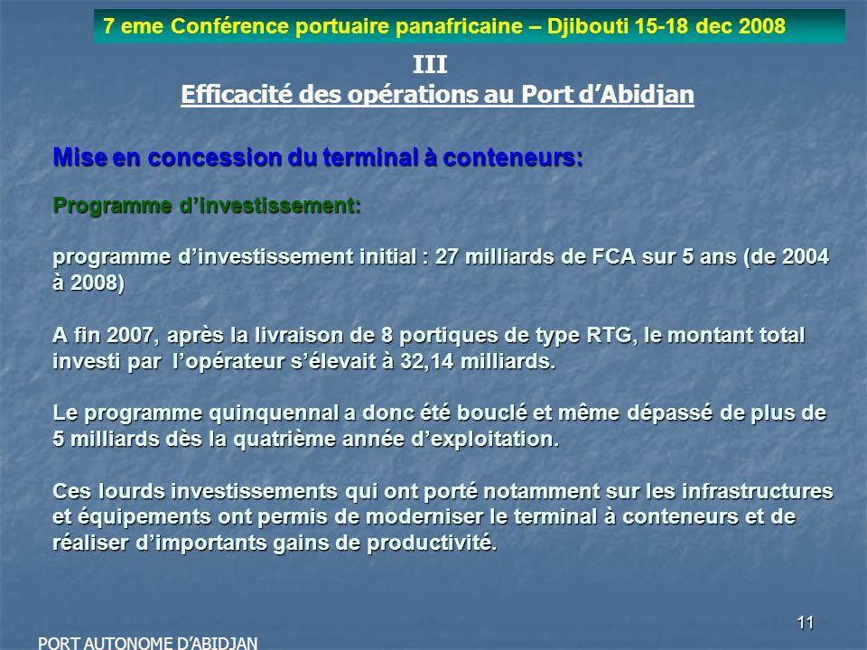 11 7 eme Conférence portuaire panafricaine – Djibouti 15-18 dec 2008 PORT AUTONOME DABIDJAN III Efficacité des opérations au Port dAbidjan Mise en con
