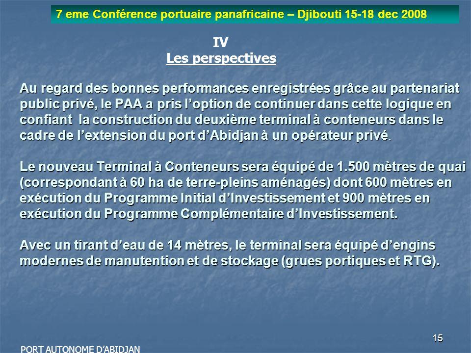 15 7 eme Conférence portuaire panafricaine – Djibouti 15-18 dec 2008 PORT AUTONOME DABIDJAN Au regard des bonnes performances enregistrées grâce au pa