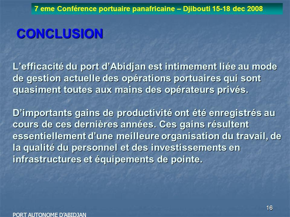 16 7 eme Conférence portuaire panafricaine – Djibouti 15-18 dec 2008 PORT AUTONOME DABIDJAN CONCLUSION Lefficacité du port dAbidjan est intimement lié
