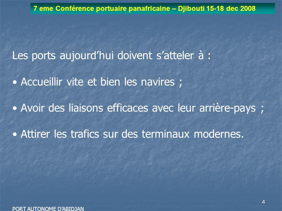 5 7 eme Conférence portuaire panafricaine – Djibouti 15-18 dec 2008 PORT AUTONOME DABIDJAN I La demande des armements et des chargeurs - lintérêt économique de lescale ; - la productivité et la fiabilité du port ; - la qualité et la fluidité de la desserte terrestre (ferroviaire, fluviale ou routière).
