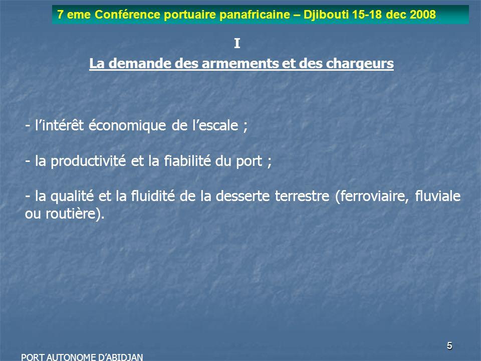 6 7 eme Conférence portuaire panafricaine – Djibouti 15-18 dec 2008 PORT AUTONOME DABIDJAN I La demande des armements et des chargeurs - la sécurité des marchandises ; - la simplification des formalités administratives.