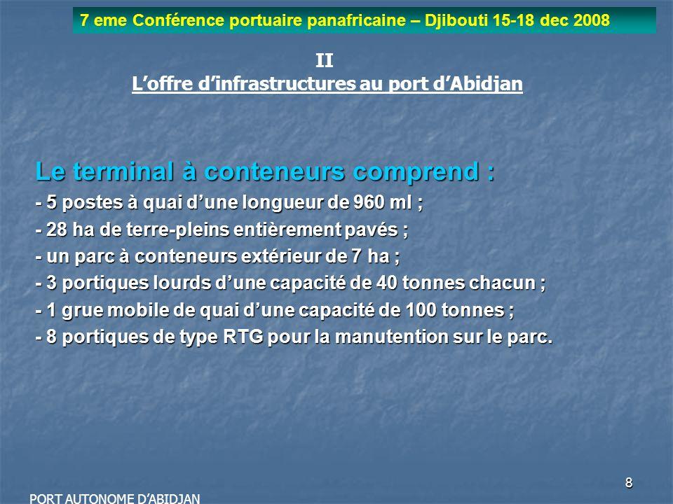 9 7 eme Conférence portuaire panafricaine – Djibouti 15-18 dec 2008 PORT AUTONOME DABIDJAN Mode de gestion des opérations au port dAbidjan: - une gestion autonome avec une séparation de la fonction de régulation de celle des opérations commerciales - une forte implication des acteurs privés dans le financement, lexploitation et Le développement des infrastructures et équipements portuaires - A lexception du pilotage et de lamarrage, lensemble des opérations commerciales sont exercées par les acteurs privés, ce qui leur confère une qualité de niveau proche des standards internationaux.