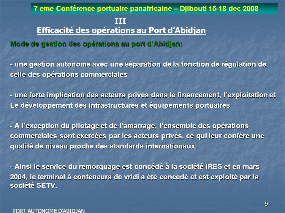10 7 eme Conférence portuaire panafricaine – Djibouti 15-18 dec 2008 PORT AUTONOME DABIDJAN Les motivations de la mise en concession du terminal à conteneurs : - Souci de lAutorité Portuaire de se concentrer davantage sur ses prérogatives régaliennes en délaissant progressivement les activités opérationnelles aux mains des acteurs privés ; - Perte defficacité due à la multiplicité des intervenants dans les opérations (Vridi Terminal ; Acconiers ; PAA) doù la nécessité davoir un unique opérateur (terminal Operator) pour lensemble des opérations ; - Enormes charges de gestion et dexploitation (frais de personnel, frais de maintenance et dentretien, etc.) ; - Concurrence active des ports de la sous région rendant nécessaire une amélioration notable des performances opérationnelles.